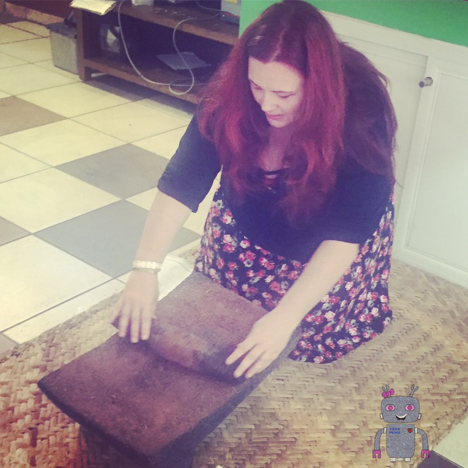 <p>Grinding cacao to make authentic mole.</p>